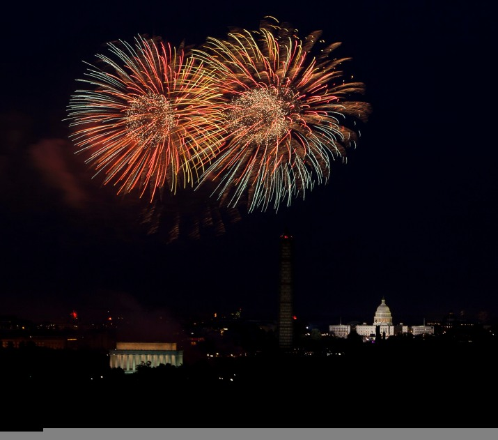 Viewed from Whipple Field on Joint Base Myer-Henderson Hall, fireworks explode over the Washington, D.C. skyline for Independence Day July 4, 2013. (Joint Base Myer-Henderson Hall PAO Photos by Rachel Larue)